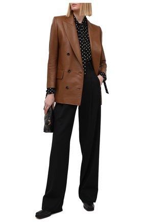 Женский кожаный жакет SAINT LAURENT коричневого цвета, арт. 648323/Y50A2 | Фото 2