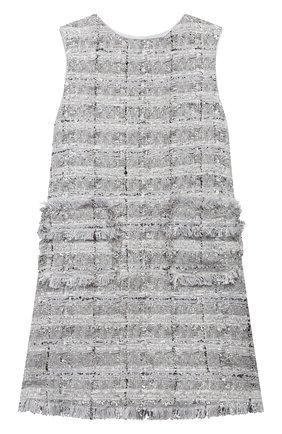 Детское твидовое платье DOLCE & GABBANA серебряного цвета, арт. L52DN3/FQ0AC/8-14 | Фото 1