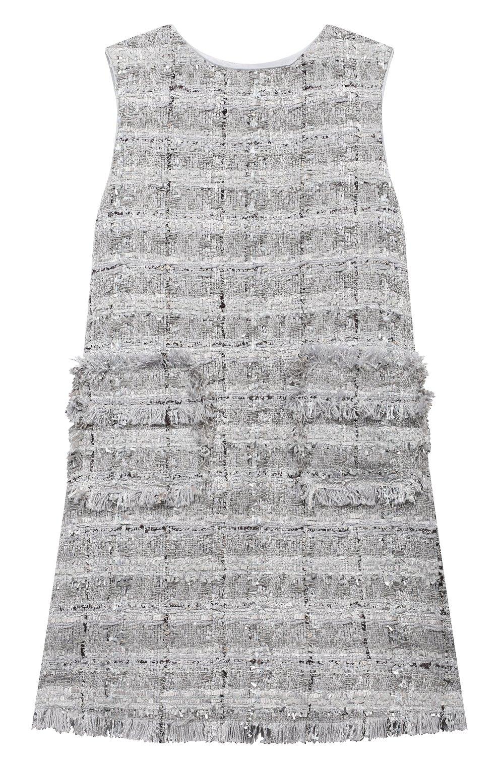 Детское твидовое платье DOLCE & GABBANA серебряного цвета, арт. L52DN3/FQ0AC/2-6 | Фото 1