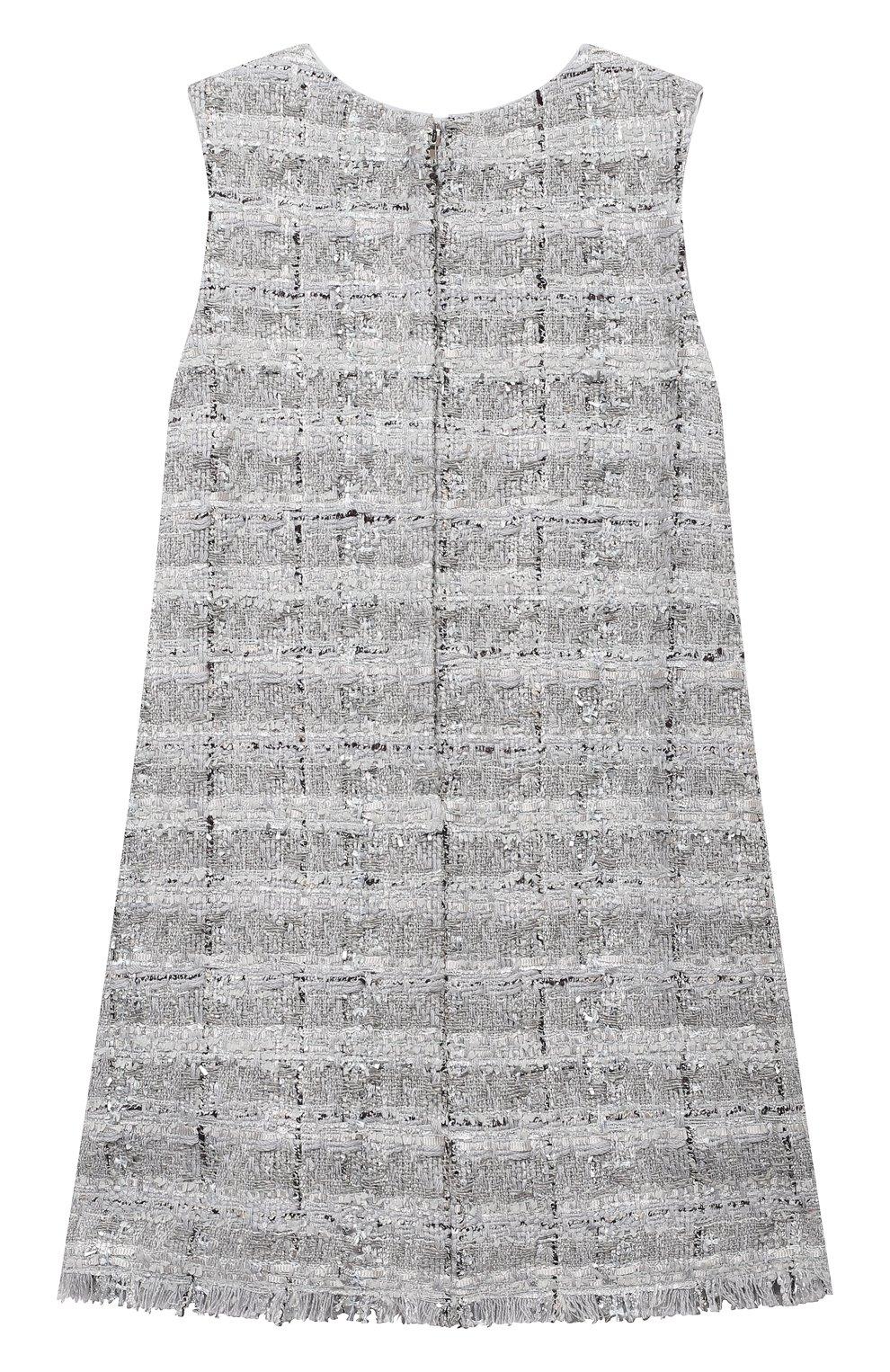 Детское твидовое платье DOLCE & GABBANA серебряного цвета, арт. L52DN3/FQ0AC/2-6 | Фото 2
