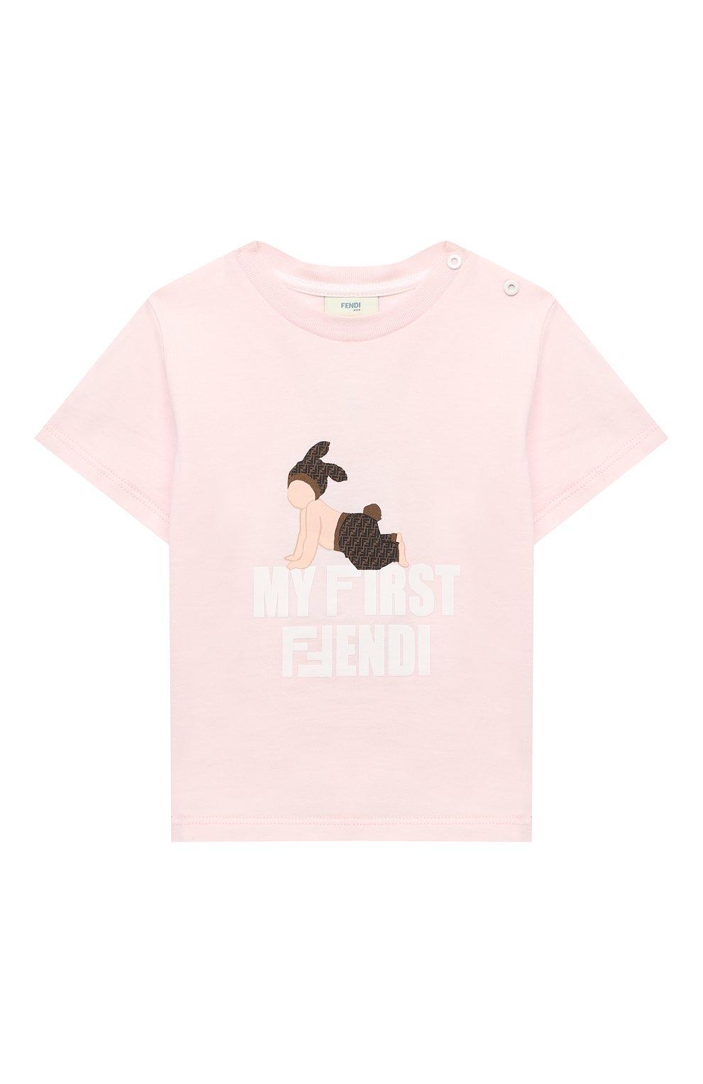 Детский хлопковая футболка FENDI розового цвета, арт. BUI013/ST8/12M-24M | Фото 1