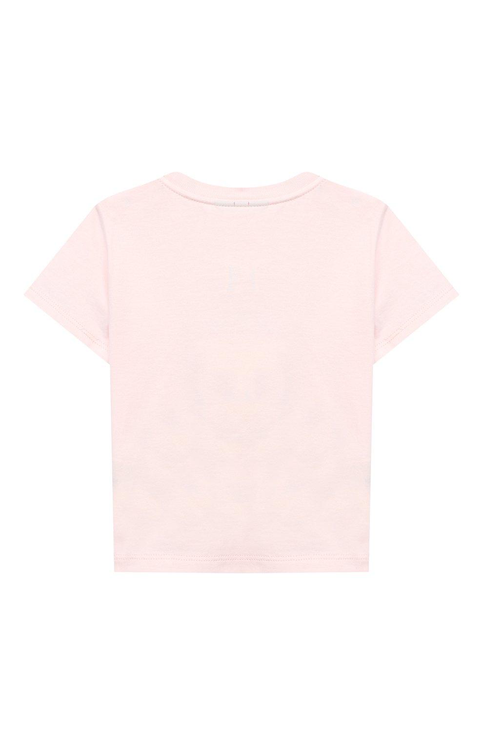 Детский хлопковая футболка FENDI розового цвета, арт. BUI013/ST8/12M-24M | Фото 2
