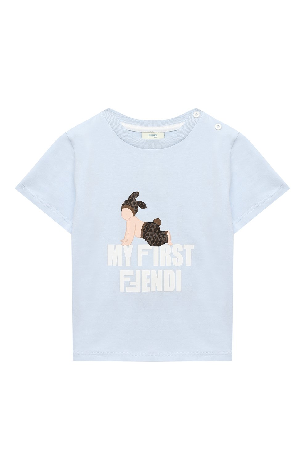 Детский хлопковая футболка FENDI голубого цвета, арт. BUI013/ST8/12M-24M   Фото 1