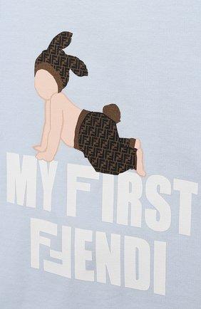 Детский хлопковая футболка FENDI голубого цвета, арт. BUI013/ST8/12M-24M   Фото 3