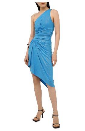 Женское платье из вискозы ALEXANDRE VAUTHIER голубого цвета, арт. 211DR1408B 1029B-202 | Фото 2