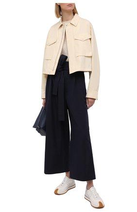 Женские хлопковые брюки LOEWE темно-синего цвета, арт. S540Y04W05 | Фото 2
