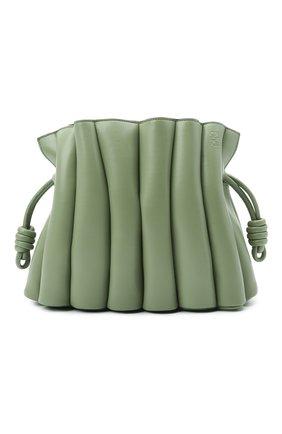 Женская сумка flamenco LOEWE зеленого цвета, арт. A411FC4X01   Фото 1 (Сумки-технические: Сумки через плечо; Размер: medium; Материал: Натуральная кожа; Ремень/цепочка: На ремешке)
