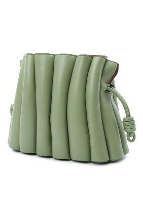 Женская сумка flamenco LOEWE зеленого цвета, арт. A411FC4X01   Фото 3 (Сумки-технические: Сумки через плечо; Размер: medium; Материал: Натуральная кожа; Ремень/цепочка: На ремешке)