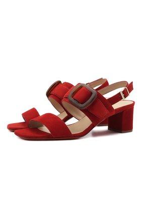 Женские замшевые босоножки SANTONI красного цвета, арт. WHIQ59255HA2TMGDM39 | Фото 1