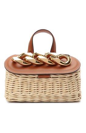 Женская сумка chain lid basket small JW ANDERSON бежевого цвета, арт. HB0321 PG0444 | Фото 1