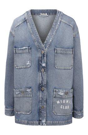 Женский джинсовый жакет MIU MIU синего цвета, арт. GWG116-U8R-F0008 | Фото 1