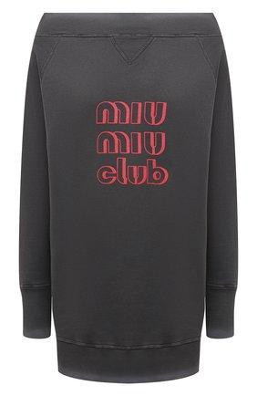 Женский хлопковый свитшот MIU MIU серого цвета, арт. MJA810-1IG3-F0D65 | Фото 1