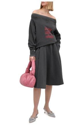 Женский хлопковый свитшот MIU MIU серого цвета, арт. MJA810-1IG3-F0D65 | Фото 2