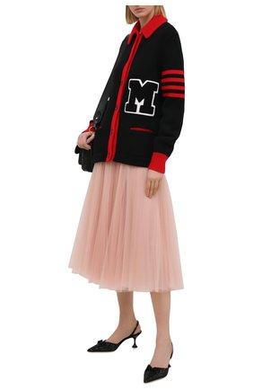 Женский шерстяной кардиган MIU MIU черного цвета, арт. MMF390-1YJL-F0002 | Фото 2