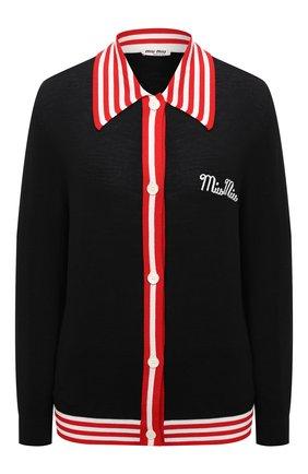 Женский шерстяной кардиган MIU MIU черного цвета, арт. MMF392-1WIO-F0002   Фото 1