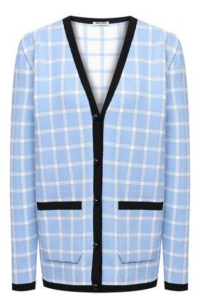 Женский кардиган из вискозы MIU MIU голубого цвета, арт. MMF411-1YQ1-F0237 | Фото 1 (Материал внешний: Вискоза; Рукава: Длинные; Длина (для топов): Стандартные; Женское Кросс-КТ: Кардиган-одежда, кардиган-трикотаж; Стили: Кэжуэл)