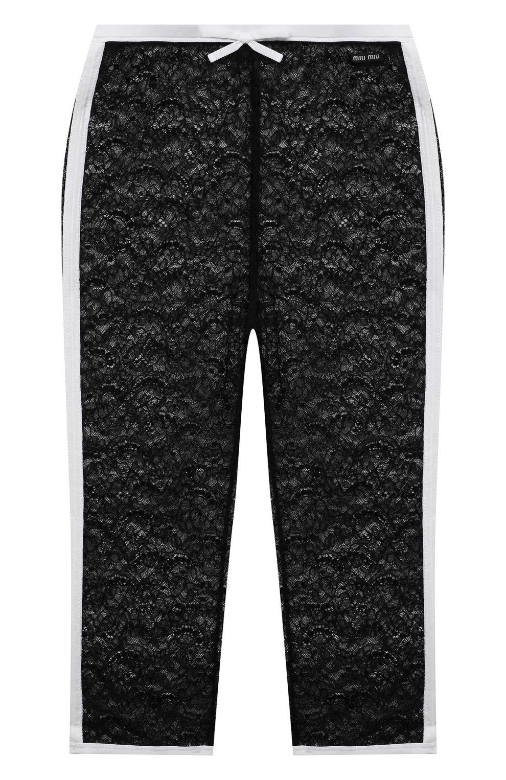 Женские шорты MIU MIU черного цвета, арт. MJP229-2W0-F0002 | Фото 1 (Женское Кросс-КТ: Шорты-одежда; Материал внешний: Синтетический материал; Длина Ж (юбки, платья, шорты): До колена; Стили: Романтичный)