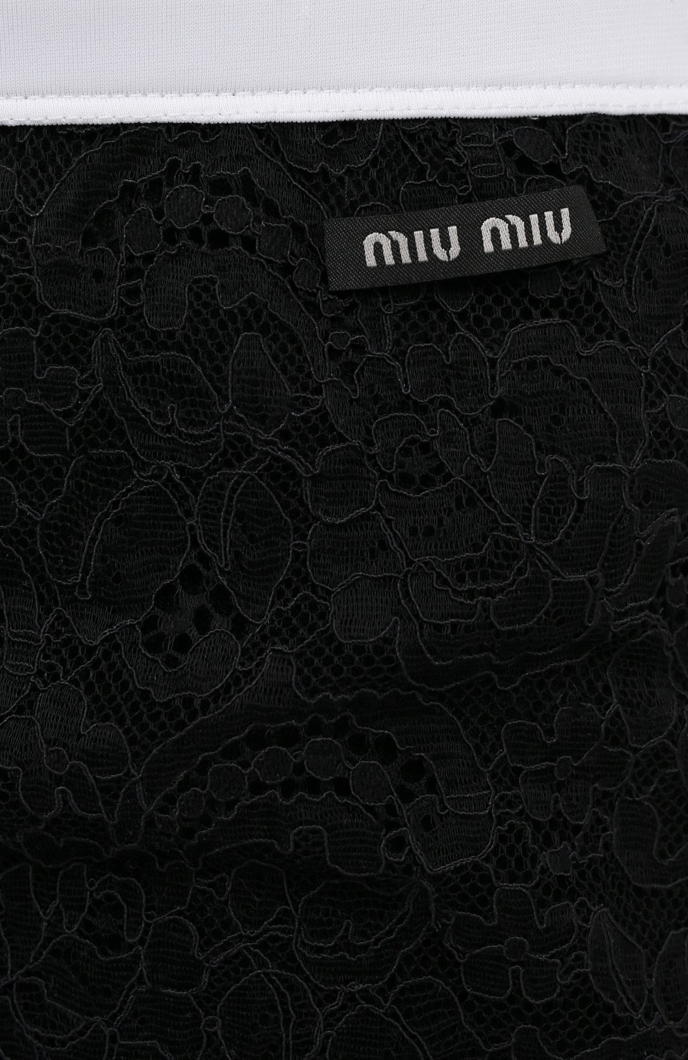 Женские шорты MIU MIU черного цвета, арт. MJP229-2W0-F0002 | Фото 5 (Женское Кросс-КТ: Шорты-одежда; Материал внешний: Синтетический материал; Длина Ж (юбки, платья, шорты): До колена; Стили: Романтичный)