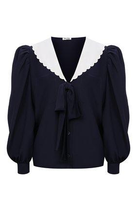 Женская шелковая блузка MIU MIU синего цвета, арт. MK1536-1YS3-F0124   Фото 1