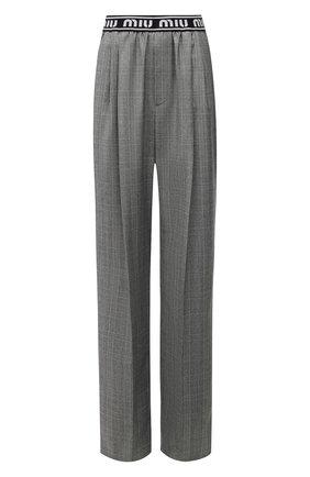 Женские шерстяные брюки MIU MIU серого цвета, арт. MP1430-1JJ8-F0154 | Фото 1