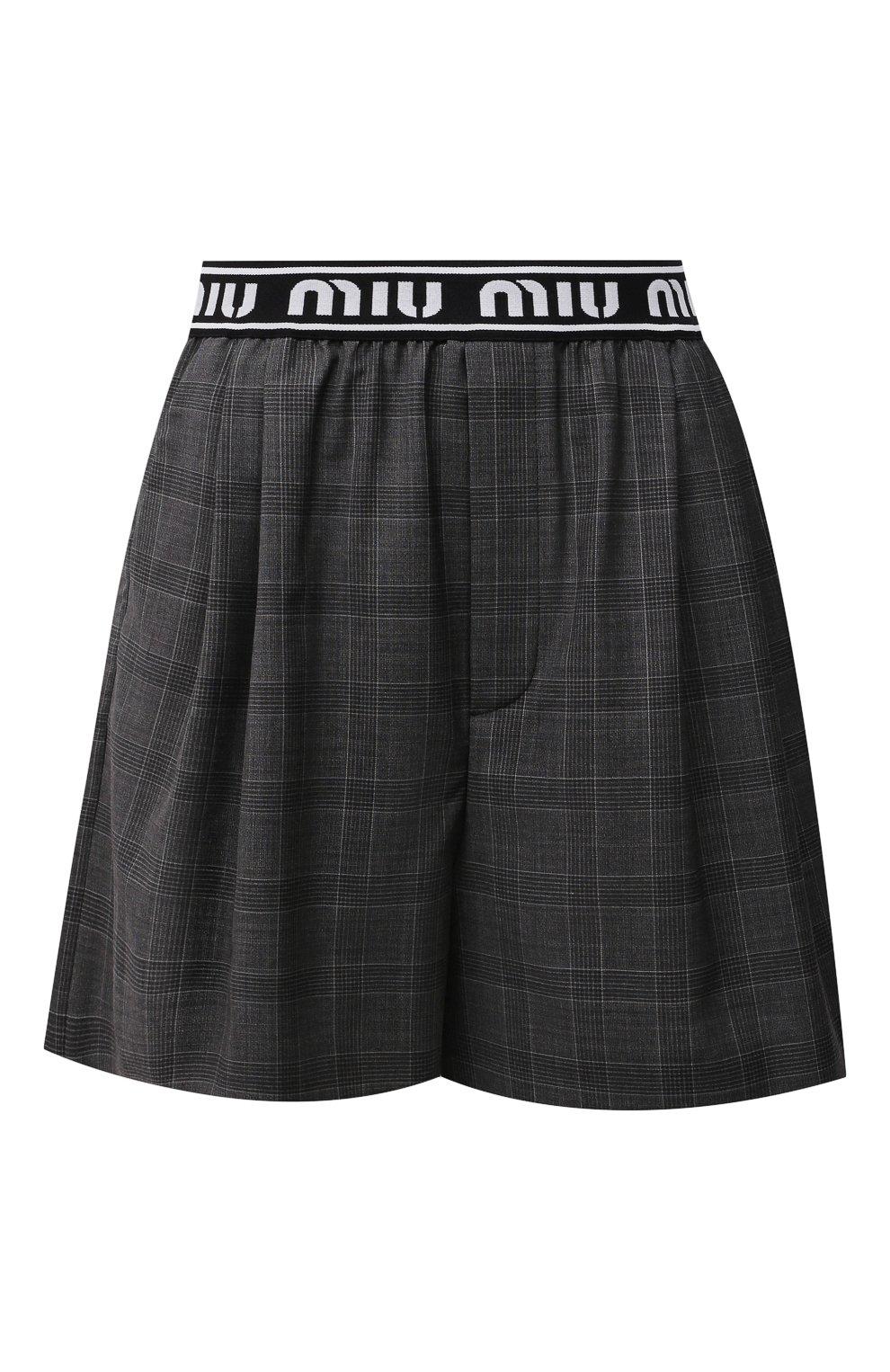 Женские шерстяные шорты MIU MIU темно-серого цвета, арт. MP1431-1UK2-F0480 | Фото 1 (Женское Кросс-КТ: Шорты-одежда; Материал внешний: Шерсть; Длина Ж (юбки, платья, шорты): Мини; Кросс-КТ: Широкие; Стили: Спорт-шик)