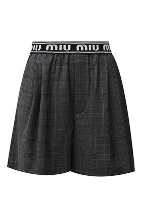 Женские шерстяные шорты MIU MIU темно-серого цвета, арт. MP1431-1UK2-F0480 | Фото 1