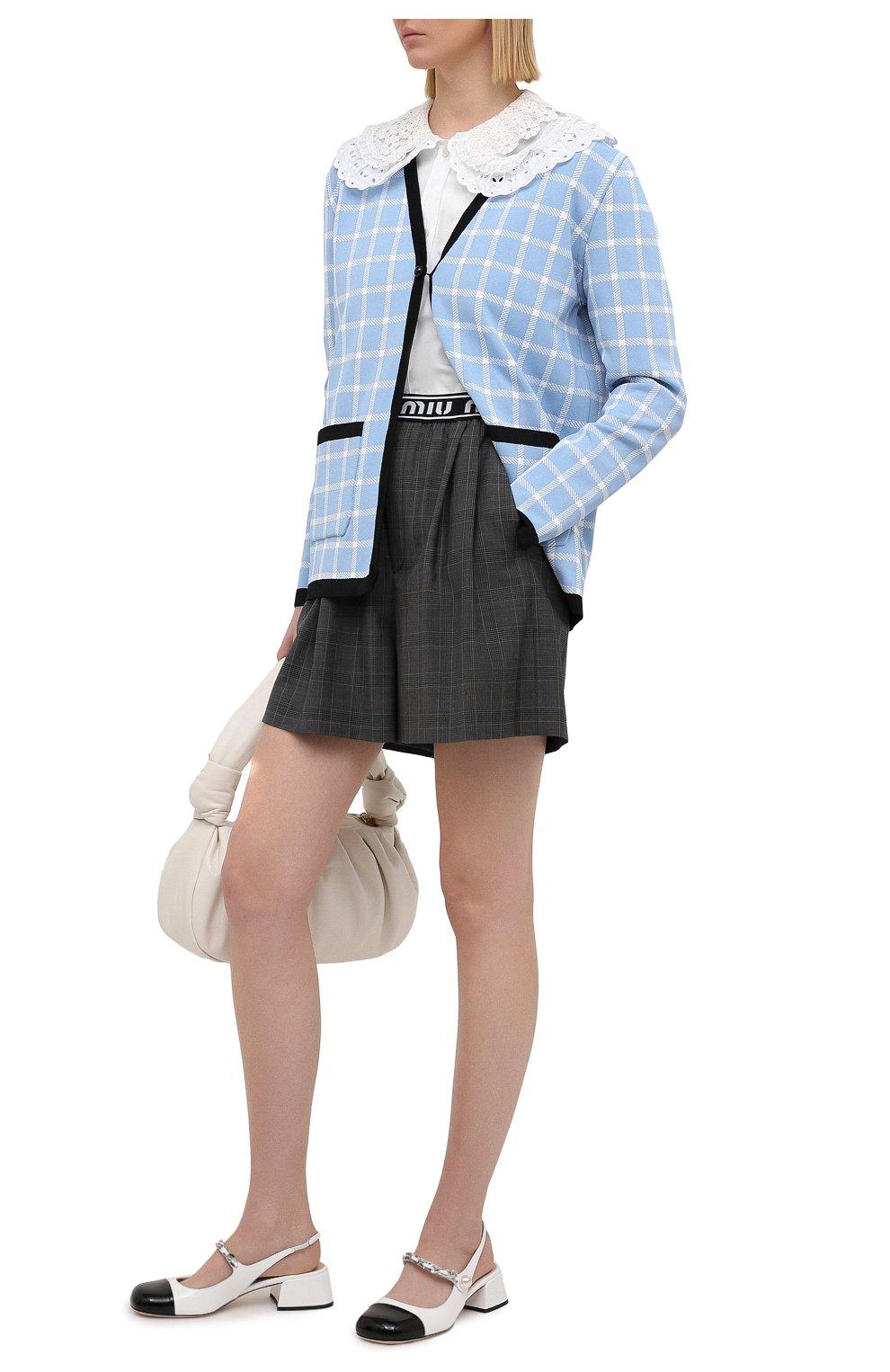 Женские шерстяные шорты MIU MIU темно-серого цвета, арт. MP1431-1UK2-F0480 | Фото 2 (Женское Кросс-КТ: Шорты-одежда; Материал внешний: Шерсть; Длина Ж (юбки, платья, шорты): Мини; Кросс-КТ: Широкие; Стили: Спорт-шик)