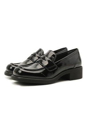 Женские кожаные пенни-лоферы MIU MIU черного цвета, арт. 5D206D-6OR-F0002-040 | Фото 1 (Материал внешний: Кожа; Подошва: Платформа; Каблук тип: Устойчивый)