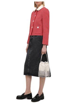 Женские кожаные пенни-лоферы MIU MIU черного цвета, арт. 5D206D-6OR-F0002-040   Фото 2