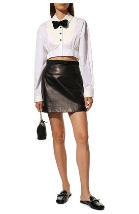 Женские кожаные сабо MIU MIU черного цвета, арт. 5D478D-6OR-F0002-005   Фото 2