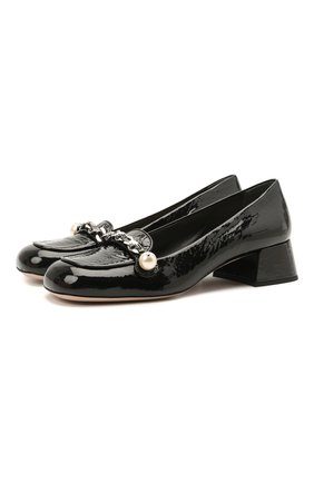 Женские кожаные туфли MIU MIU черного цвета, арт. 5D480D-6OR-F0002-035 | Фото 1