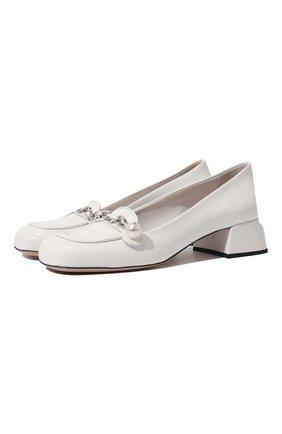 Женские кожаные туфли MIU MIU белого цвета, арт. 5D480D-6OR-F0009-035 | Фото 1