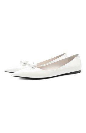 Женские кожаные балетки MIU MIU белого цвета, арт. 5F465D-XUW-F0009-005 | Фото 1