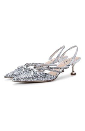 Женские туфли MIU MIU серебряного цвета, арт. 5I402D-36B-F0118-D055   Фото 1