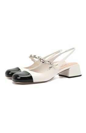 Женские кожаные туфли MIU MIU черно-белого цвета, арт. 5I460D-ZHV-F0964-035 | Фото 1