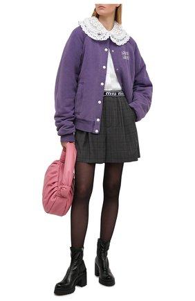 Женские кожаные ботильоны MIU MIU черного цвета, арт. 5T193D-3LB1-F0002-080 | Фото 2