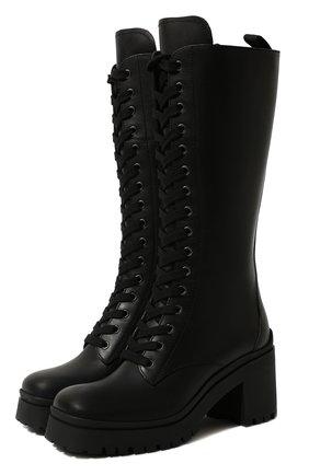 Женские кожаные сапоги MIU MIU черного цвета, арт. 5W227D-3KL9-F0002-080   Фото 1