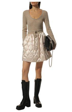 Женские кожаные сапоги MIU MIU черного цвета, арт. 5W227D-3KL9-F0002-080   Фото 2