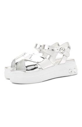 Женские кожаные сандалии MIU MIU серебряного цвета, арт. 5X996C-3L32-F0118-050   Фото 1