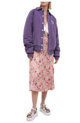 Женские кожаные сандалии MIU MIU серебряного цвета, арт. 5X996C-3L32-F0118-050   Фото 2