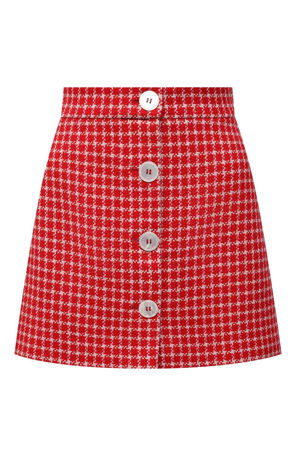 Женская юбка MIU MIU красного цвета, арт. MG1573-1V7V-F0011 | Фото 1 (Материал внешний: Шерсть, Синтетический материал; Длина Ж (юбки, платья, шорты): Мини; Женское Кросс-КТ: Юбка-одежда; Стили: Кэжуэл)