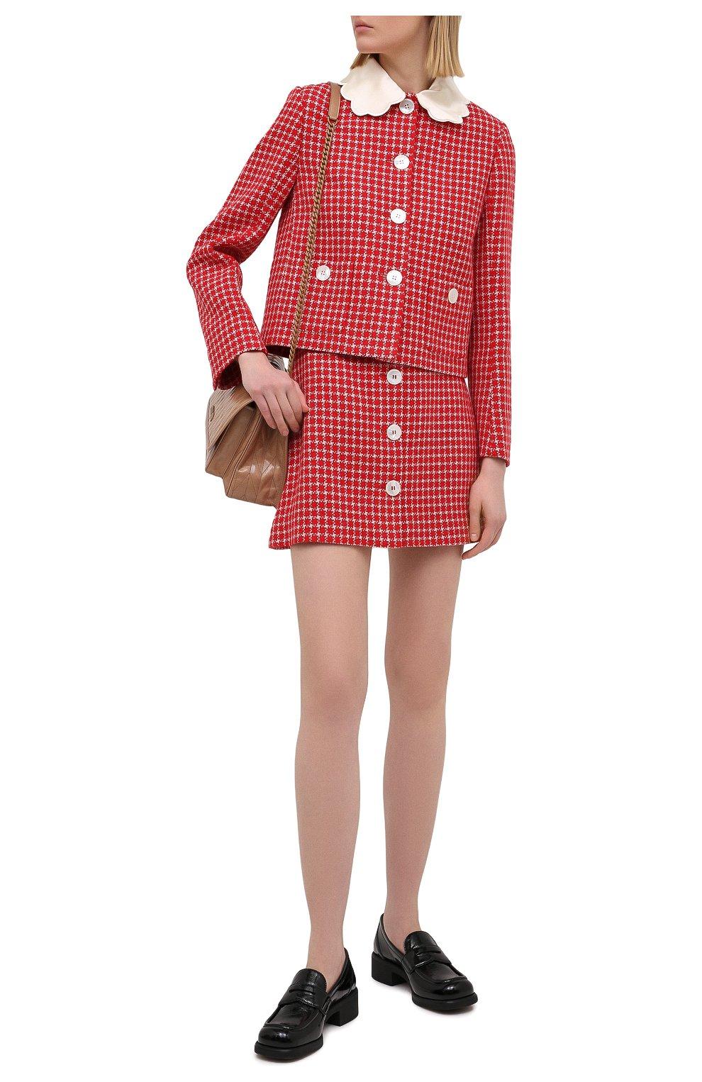 Женская юбка MIU MIU красного цвета, арт. MG1573-1V7V-F0011 | Фото 2 (Материал внешний: Шерсть, Синтетический материал; Длина Ж (юбки, платья, шорты): Мини; Женское Кросс-КТ: Юбка-одежда; Стили: Кэжуэл)