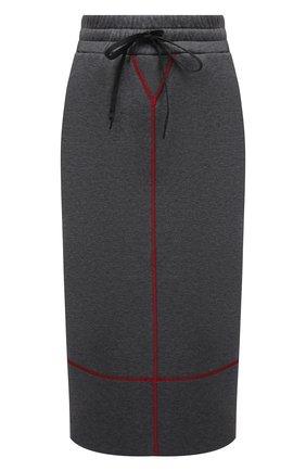 Женская хлопковая юбка MIU MIU серого цвета, арт. MJD175-1QHY-F0480 | Фото 1