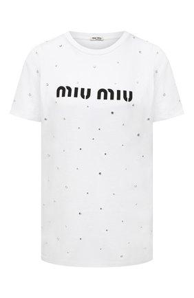 Женская хлопковая футболка MIU MIU белого цвета, арт. MJN240-1XE1-F0009 | Фото 1