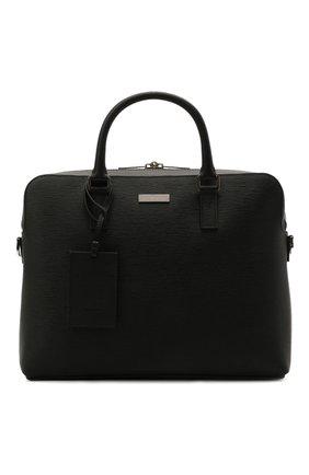 Мужская кожаная сумка для ноутбука BOSS черного цвета, арт. 50446382 | Фото 1 (Материал: Натуральная кожа; Ремень/цепочка: На ремешке)