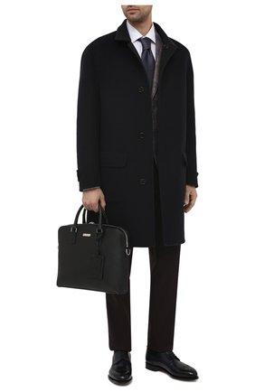 Мужская кожаная сумка для ноутбука BOSS черного цвета, арт. 50446382 | Фото 2 (Материал: Натуральная кожа; Ремень/цепочка: На ремешке)