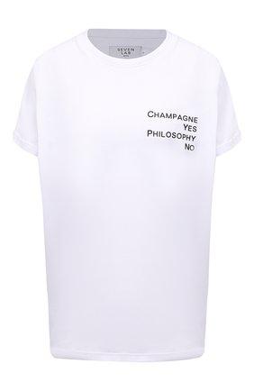 Женская хлопковая футболка SEVEN LAB белого цвета, арт. T20-CYPN-P019 white | Фото 1