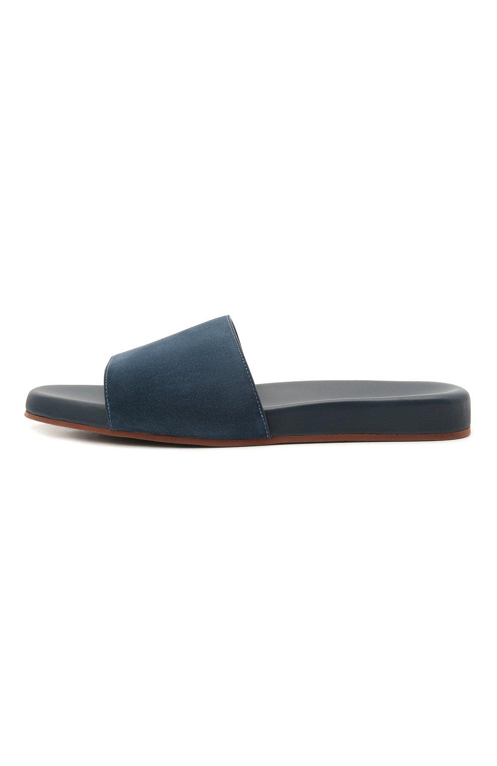 Мужские замшевые шлепанцы sea-slide LORO PIANA синего цвета, арт. FAI4870 | Фото 3
