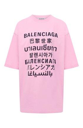 Женская футболка BALENCIAGA розового цвета, арт. 641532/TJVI3 | Фото 1