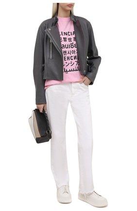 Женская футболка BALENCIAGA розового цвета, арт. 641532/TJVI3 | Фото 2